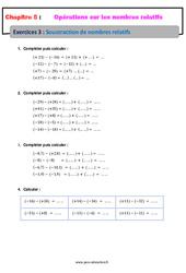 Soustraction de nombres relatifs – 5ème – Exercices avec correction