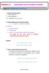 Simplification d'écritures – 5ème – Les nombres relatifs – Cours