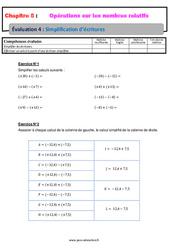Simplification d'écritures – 5ème – Les nombres relatifs – Evaluation, bilan, contrôle avec la correction