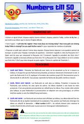 Numbers till 50 – CE1 – CE2 – Anglais – Lexique – Séquence complète – Cycle 2