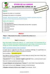 Présent des verbes en -er – Ce1 – Étude de la langue – Fiche de préparation