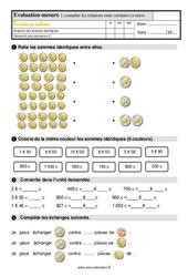 Évaluation, bilan sur connaître les relations entre les centimes et euros au Ce1 avec les corrections