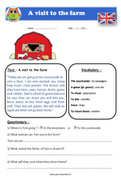 A visit to the farm - Cm1 - Cm2 - Anglais - Lecture - Level 3
