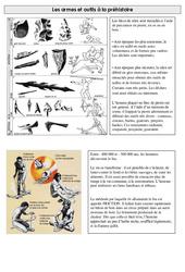 Armes et outils à la préhistoire - Exercices - Ce2 - Cycle 3