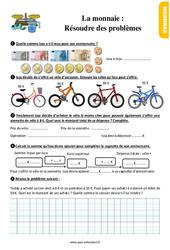 Exercices, révisions au Ce1 sur la monnaie : résoudre des problèmes