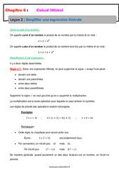 Simplifier une expression littérale – 5ème – Calcul littéral – Cours