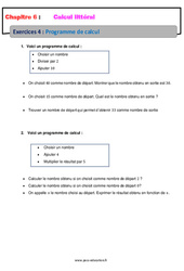 Programme de calcul - 5ème - Calcul littéral - Exercices avec correction
