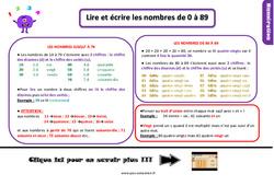 Leçon, trace écrite sur les nombres de 0 à 89 au Ce1