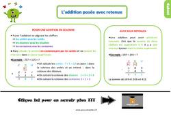Leçon, trace écrite sur l'addition posée avec retenue au Ce1