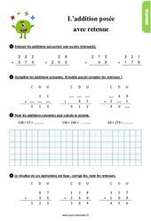 Exercices, révisions sur l'addition posée avec retenue au Ce1 avec les corrections