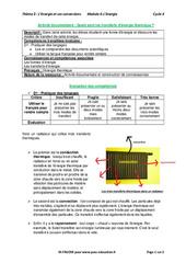 Quels sont les transferts d'énergie thermique? – 5ème – Activité documentaire avec les corrections