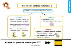 Leçon, trace écrite sur les valeurs sonores de la lettre s au CE1
