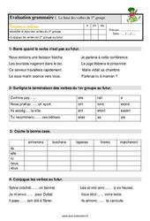 Le futur des verbes en -er – Ce1 – Étude de la langue – Evaluation avec les corrigés