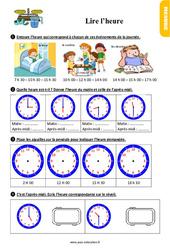 Exercices, révisions sur lire l'heure au Ce1 avec les corrections
