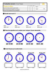 Évaluation, bilan sur lire l'heure au Ce1 avec les corrections