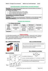 Comment mesurer une tension électrique? - 4ème - Activité documentaire avec les corrections