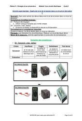 Quelle est la loi de la tension dans un circuit en dérivation? - 4ème - Activité expérimentale avec les corrections