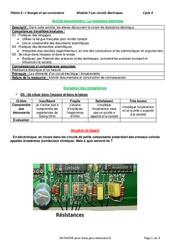 La résistance électrique - 4ème - Activité documentaire avec les corrections