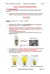 Puissance et énergie électrique - 3ème - Cours