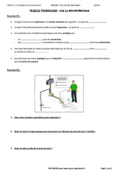 La sécurité électrique - 3ème - Exercices avec les corrections