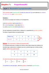 Reconnaître la proportionnalité - 5ème - Cours