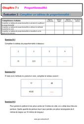 Compléter un tableau de proportionnalité – 5ème – Evaluation, bilan, contrôle avec la correction
