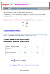 Utiliser et déterminer un pourcentage – 5ème – Proportionnalité – Cours