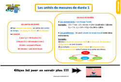 Leçon, trace écrite sur les unités de mesures de durées au Ce1