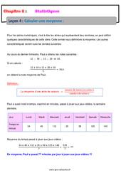 Calculer une moyenne – 5ème – Statistiques – Cours