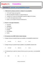 Calculer une probabilité simple – 5ème – Exercices avec correction