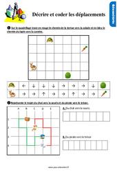 Exercices, révisions sur décrire et coder les déplacements au Ce1 avec les corrections