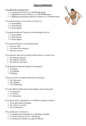 Quizz préhistoire – Exercices –  Ce2 –  Cycle 3
