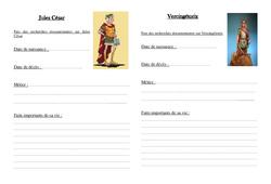 Jules César et vercingétorix – Antiquité: Exercices – Ce2 –  Cycle3 – Fiche documentaire