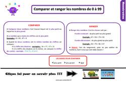 Leçon, trace écrite sur comparer et ranger les nombres de 0 à 99 au Ce1