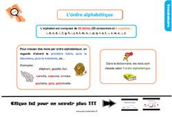 Leçon, trace écrite sur l'ordre alphabétique - Ce1