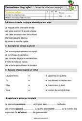 L'accord du verbe avec son sujet – Ce1 – Étude de la langue – Evaluation avec les corrigés