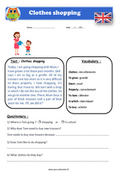Clothes shopping – Cm1 – Cm2 – Anglais – Lecture – Level 3