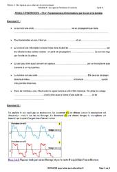 Transmission d'informations par le son et la lumière – 3ème – Exercices avec les corrections