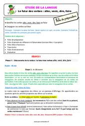 Le futur des verbes : aller, venir, dire, faire au Ce1 – Étude de la langue – Fiche de préparation