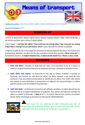 Means of transport – CE1 – CE2 – Anglais – Lexique – Séquence complète – Cycle 2