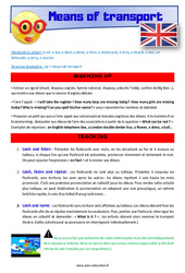 Means of transport – CM1 – CM2 – Anglais – Lexique – Séquence complète – Cycle 3