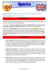 Sports – CE1 – CE2 – Anglais – Lexique – Séquence complète – Cycle 2