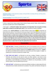 Sports – CM1 – CM2 – Anglais – Lexique – Séquence complète – Cycle 3