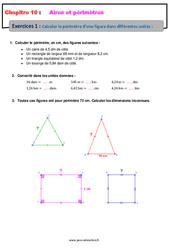 Calculer le périmètre d'une figure, dans différentes unités - 5ème - Exercices avec les corrections