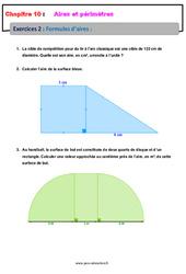 Formules d'aires - 5ème - Exercices avec les corrections