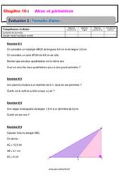 Formules d'aires - 5ème - Evaluation, bilan, contrôle avec la correction