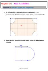 Aire des figures plus complexes - 5ème - Exercices avec les corrections