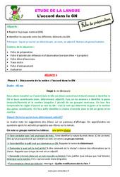 Accord dans le groupe nominal (GN) au Ce1 – Étude de la langue – Fiche de préparation