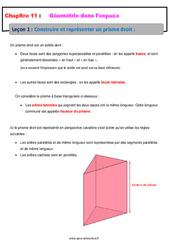 Construire et représenter un prisme droit - 5ème - Géométrie dans l'espace - Cours