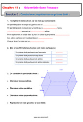 Construire et représenter un prisme droit - 5ème - Géométrie dans l'espace - Exercices avec les corrections
